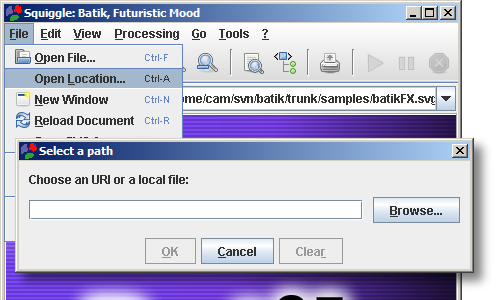 Screenshot of Squiggle showing the 'File→Open Location' menu and window
